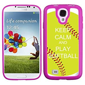 One Tough Shield ? Flexible/Rigid Hybrid Phone Case (Pink Bezel) for Samsung Galaxy S4 S-IV - (Keep Calm / Softball Green)