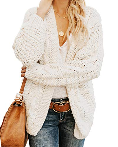 (Plus Size Womens Cardigan Sweaters Cable Knit Chunky Oversized Long Sleeve Fall Winter Cardigans White)