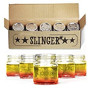 THE SLINGER Shot Glasses Set - Mini Mason Jars with Lids (5 Pack)