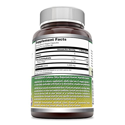 Amazing Formulas Fenugreek Seed Supplement - 610 mg Capsules Made With Pure Seed Extract - 180 Capsules Per Bottle - All Natural Supplements To Support Womens Health,