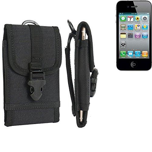 Gürteltasche / Holster für Apple iPhone 4s, schwarz | extrem robuste Handyhülle Smarpthone Schutz Tasche Hülle outdoor / camping case - K-S-Trade(TM)
