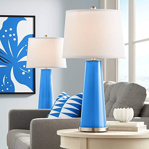 Leo Modern Table Lamps Set of 2 Royal Blue Glass Tapered Column Plain White Drum Shade for Living Room Family Bedroom - Color + ()
