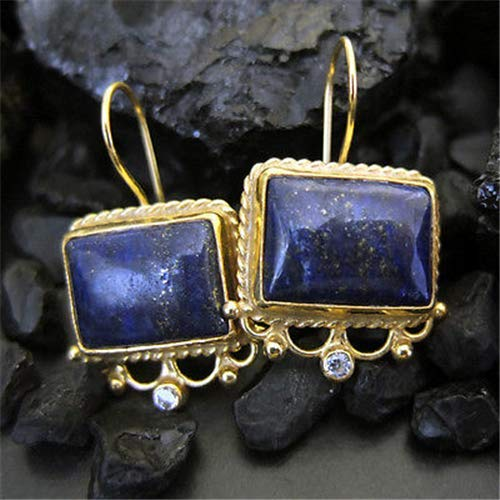 Ancient Design Jewelry Handmade Hammered Large Natural Lapis Earring 22K Gold Over 925K Sterling Silver ()