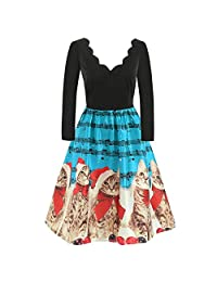 FarJing Christmas Dresses for Women,Christmas Cats Musical Notes Vintage Flare Dress