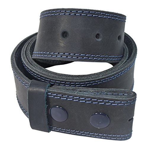 - Men's Two Row Stitch Thick Leather Snap On Belt Handmade by Hide & Drink :: Slate Blue (Size 36)