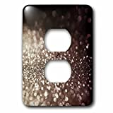 3dRose Uta Naumann Faux Glitter Pattern - Sparkling Luxury Silver Faux Glitter Effect Print - Light Switch Covers - 2 plug outlet cover (lsp_268949_6)