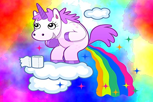 Funny Rainbow Unicorn Pooping Poster Print Small