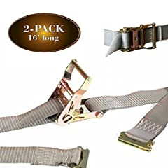 """DC Cargo Mall TWO 2"""" x 16' Grey Polyester Webbing Cargo Tie-Down Straps with Steel Ratchets       We sell only top-quality products to ensure our customers only receive the best they deserve. Our tie-downs' webbing is made of polyester..."""