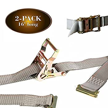 """2 E Track Ratchet Straps, 2"""" x 16' Durable Ratcheting Strap Cargo TieDowns, Heavy Duty Yellow Polyester Tie-Downs, ETrack Spring Fittings, Tie Down Motorcycles, Trailer Loads, by DC Cargo Mall"""
