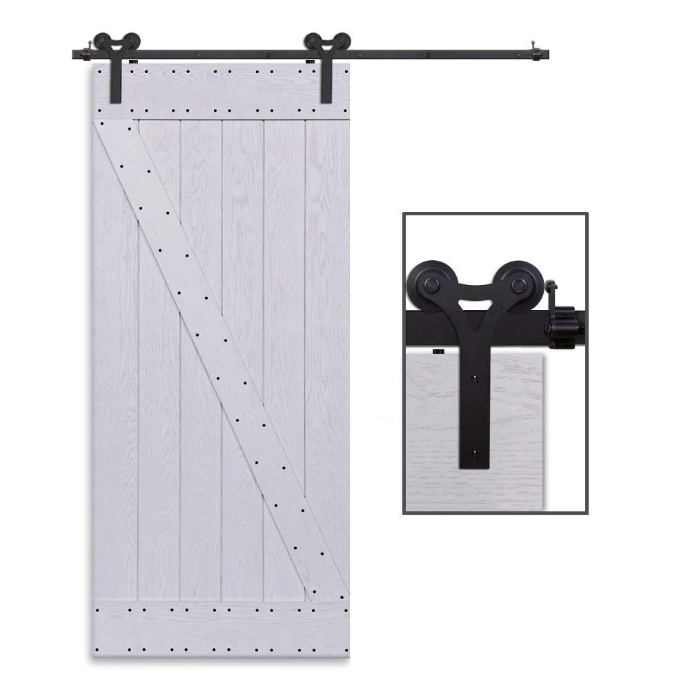 CCJH 6FT-183cm Retro Corredizo de Madera Granero Puerta Hardware Kit Armario Corredizo de la Riel Colgadores de Rueda para una sola Puerta Y Shaped: ...