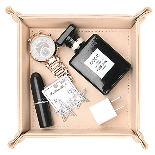Leather Valet Tray, Jewelry Tray, Catchall Tray, Desktop Storage Organizer,Bedside Caddy for Men Key Wallet Watch Coin Phone Change,Candy Holder Sundries Tray,Convenient for Travel (Beige)