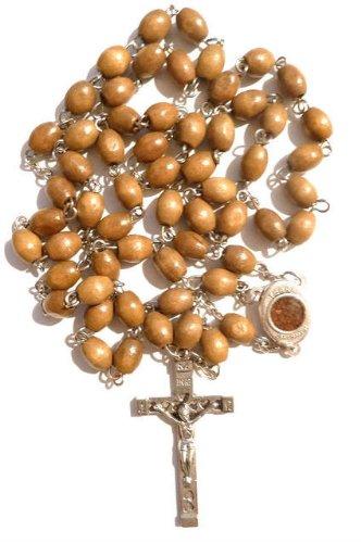 (Olive Wood JERUSALEM SOIL Catholic Rosary Beads Jesus Cross Crucifix Chain Necklace Pendant Gift)