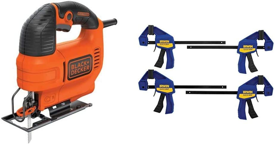BLACK+DECKER Jig Saw, 4.5 -Amp with IRWIN QUICK-GRIP Clamps, One-Handed, Mini Bar, 6-Inch, 4-Pack (BDEJS300C & 1964758)