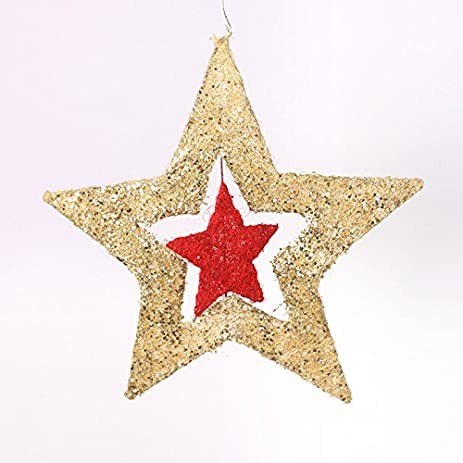 christmas decorations iron christmas stars rotating pentagram atrium accessories gold 40cm - Christmas Star Decorations