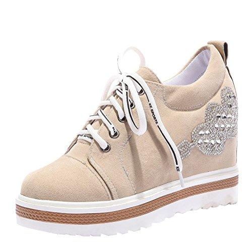 Latasa Femmes Plate-forme À Lintérieur Des Chaussures À Lacets Compensées Beige