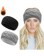 Winter Knitted Headband - Women Ear Warmer Headband Crochet Turban Twist Hair Band Fleece Lined Stretchy Headwrap Winter Thick Headbands For Womens