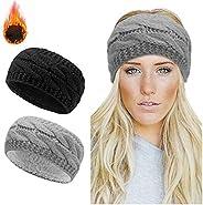 Winter Knitted Headband - Women Ear Warmer Headband Crochet Turban Twist Hair Band Fleece Lined Stretchy Headw