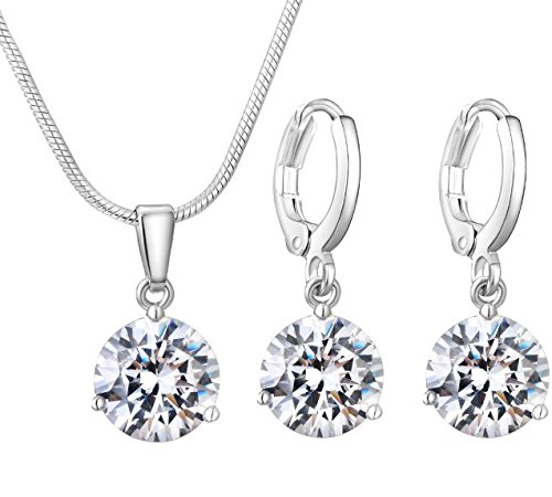925 Sterling Silver Set - 925 sterling silver Crystal wedding necklace earring jewelry set
