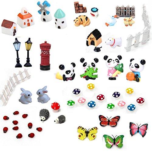 Buytra 51 Piece Miniature Fairy Garden Ornaments kit for DIY Fairy Garden Dollhouse Home Decor For Sale