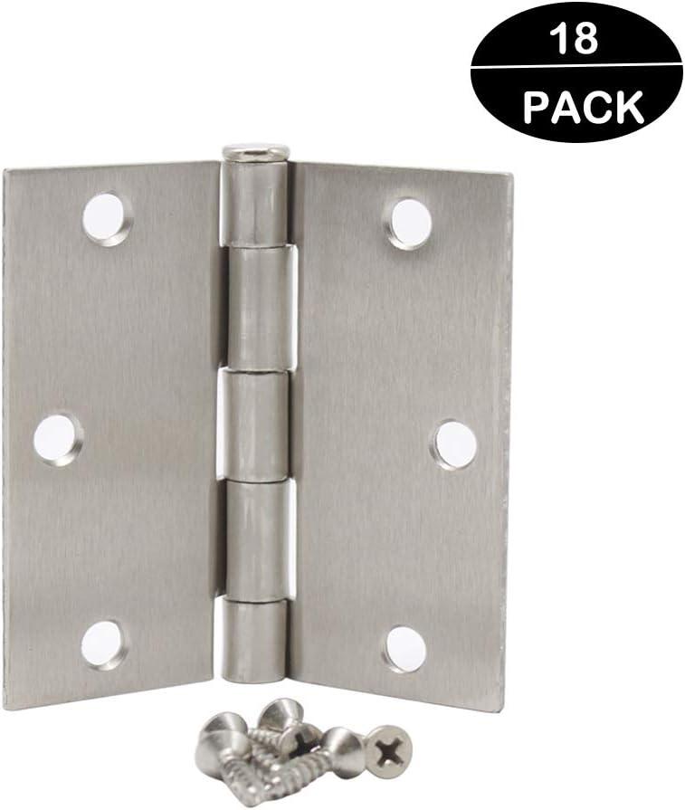 "Hardware Door Hinges-Heavy-Duty 3 /½/"" x 3 /½/"" Inch Interior Hinges for Doors Brushed Satin Nickel with Square Corners Door Hinges 18 Pack Probrico"