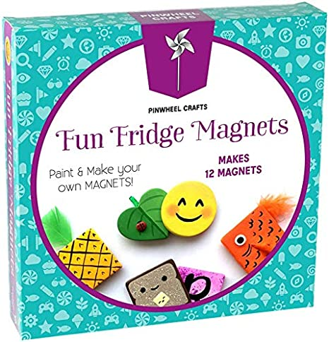 Fridge Magnet Art Activity Set: Make Your Own Self Adhesive Refrigerator & School Locker Magnets - DIY Craft Kits for Kids Birthday Parties & Kits - Great For Kids Arts And Crafts