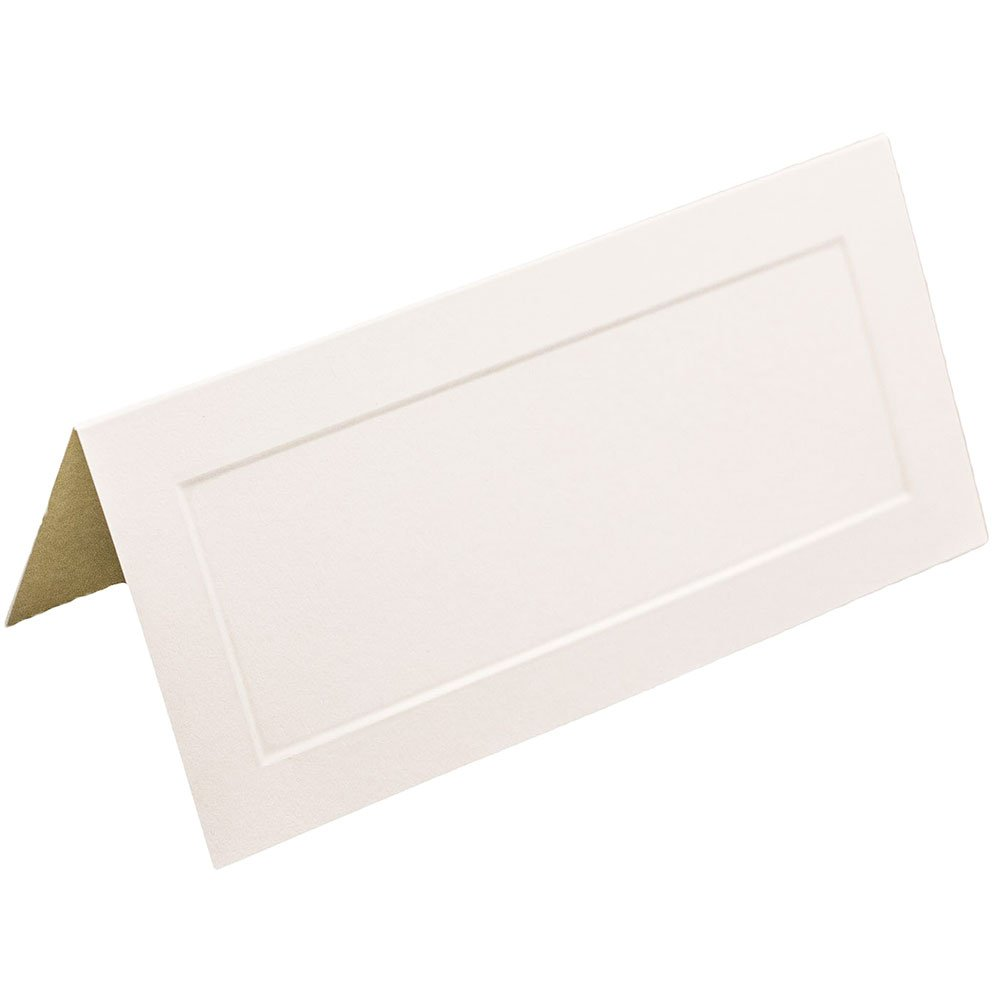 JAM PAPER Table Setting Foldover Place Cards - 2 x 4 1/2 - Off White with Embossed Border - 100 Tent Cards/pack