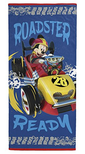 - Disney Mickey Mouse Roadster Racer Kids Bath/Pool/Beach Towel - Featuring Mickey Mouse - Super Soft & Absorbent Fade Resistant Cotton Towel, Measures 28 inch x 58 inch (Official Disney Product)