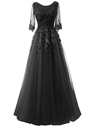 2018 A-Line Prom Dresses Lace Floral Half Sleeves Bridesmaid Dresses Black Size 2