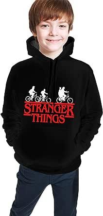 DFGD Unisex Youth Pullover Hoodie Horror Things Happen Stranger Long Sleeve Hooded Sweatshirt Boys Girls Sweater