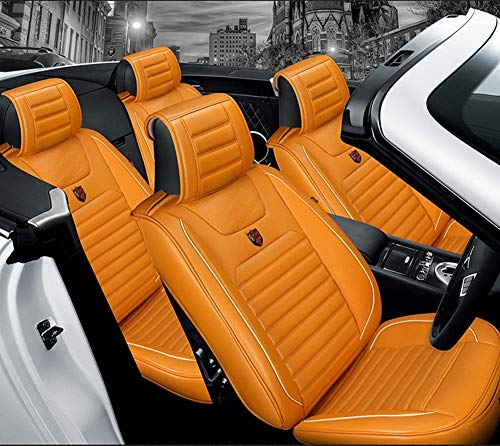AYCYNI Easy To Clean Leather Car Seat Cushion 5 Seats Full Set - Non-Slip Suede Backing Universal Fit Seat Cover For Fabric,Black,Orange: Kitchen & Home