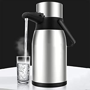 WOYIN Stainless Steel Airpot Insulated Vacuum Thermal Jug,Double Wall Vacuum Insulated Pitcher,Large Coffee Thermos Dispenser for Coffee, Hot Chocolate, Iced Tea (Color : Silver, Size : 3L)