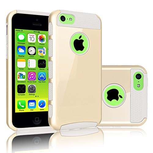 Tekcoo for iPhone 5C Case, [TDuke Series] Sturdy Protective Case for Apple iPhone 5C Hard Hybrid Defender Slim Glossy Cover [Scratch Proof] Plastic Shell Outer + TPU Rubber Inner [Gold/White]