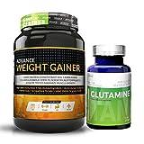 Advance Weight Gainer 1Kg (2.2LBS) Banana Sugar free&Glutamine supplement powder 100gm unflavored
