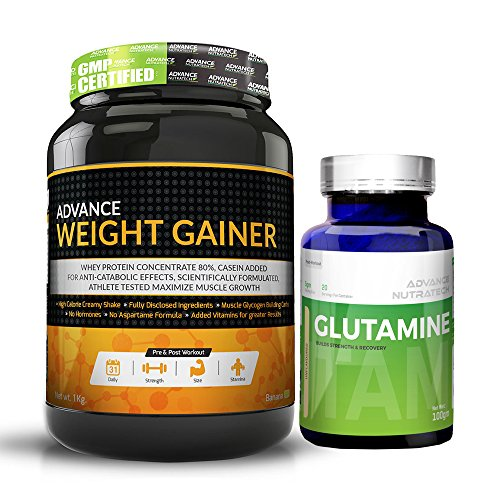 Advance Weight Gainer 1Kg (2.2LBS) Banana Sugar free&Glutamine supplement powder 100gm unflavored ()