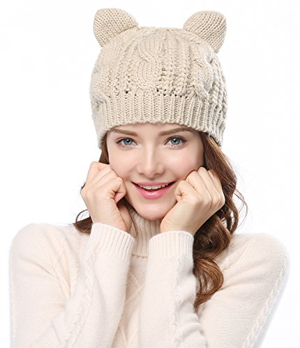 Women's Hat Cat Ear Crochet Braided Knit Caps,Beige