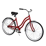 COEWSKE 26″ Single Speed Men Women's Beach Cruiser Bicycle(Women/Red) For Sale