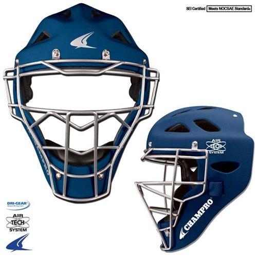 Champro Sports Rubberized Matte Finish Pro-Plus Catcher's Hockey Style Headgear, Navy, 7-7 ()