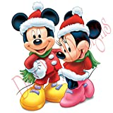 Disney Mickey and Minnie wearing Santa's costumes. Christmas and Holidays static cling decoration for windows, mirrors or polished metal surfaces. (12'')