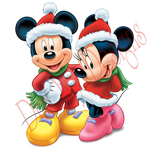 One Stop Decals Disney Mickey and Minnie Wearing Santa's Costumes (V2). Christmas and Holidays Static Cling Decoration for Windows, Mirrors or Polished Metal Surfaces. (24