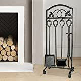 5 Pieces Fireplace Tools Sets Leaf Design Pewter Wrought Iron Fire Place Tool set and Decor Holder Fireset Fire Pit Stand Wood Stove Log Tongs Tools Kit Sets with Handles Fireplaces Hearth Accessories
