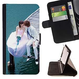 BullDog Case - FOR/HTC One M7 / - / Love Married Couple /- Monedero de cuero de la PU Llevar cubierta de la caja con el ID Credit Card Slots Flip funda de cuer