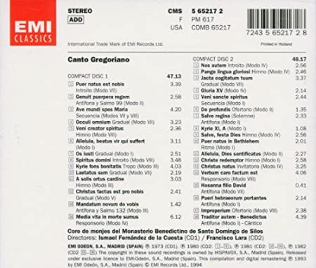 Amazon.com: Canto Gregoriano: Music