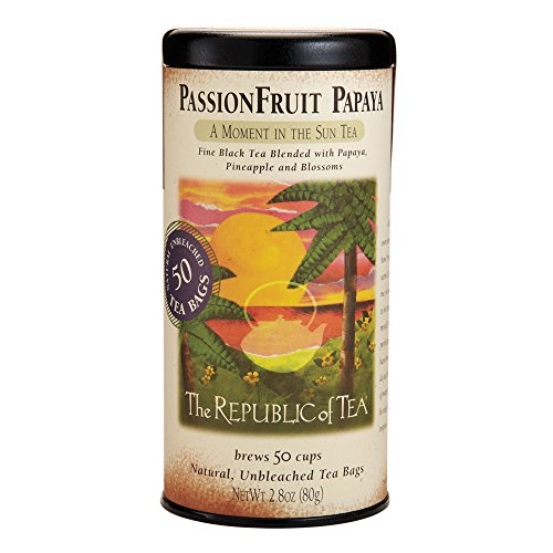 The Republic Of Tea Passionfruit Papaya Black Tea, 50 Tea Bags, Exotic Fruit Gourmet Blend