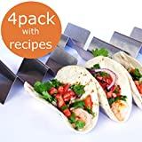 STAINLESS STEEL TACO HOLDERS - HOLDS 3 TACOS EACH, SET OF FOUR Taco Trays, Taco Truck for Hard Shell, Soft or Street Tacos with FREE RECIPE BROCHURE by Ovation Home