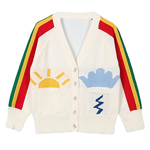 - Baby Girls 1-6T Rainbow V-Neck Button-down Cotton Knits Cardigan Sweaters Sweatshirt Coat Jacket Outerwear (5-6 Years)