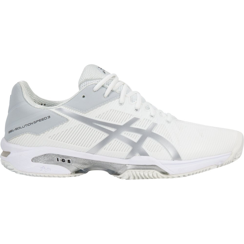 ASICS Women's Gel-Solution Speed 3 - Clay White/Silver 12 B US