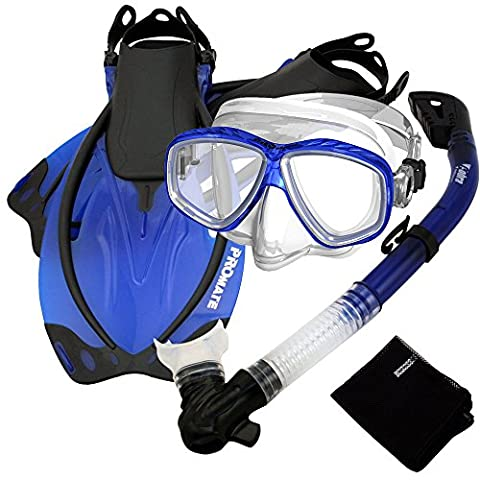 Snorkel Set w/ Fins Snorkel Mask Mesh Bag, Blue, MLXL