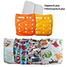 Besto Baby Reusable Cloth Pocket Diapers, 6 pcs + 12 Inserts