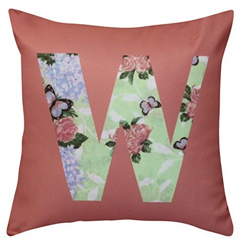 NikaGrace, Floral Letter W Throw Pillow Cover No Pillow Insert and Made in USA