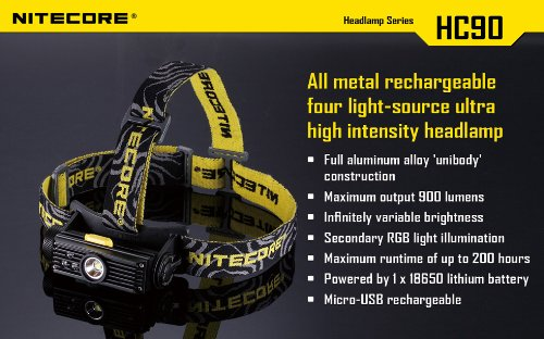 Nitecore HC90 900 Lumen CREE XM-L2 T6 LED USB rechargeable headlamp with Genuine NL189 18650 3400mAh Li-ion rechargeable battery, Two EdisonBright CR123A Lithium Batteries by Nitecore (Image #5)